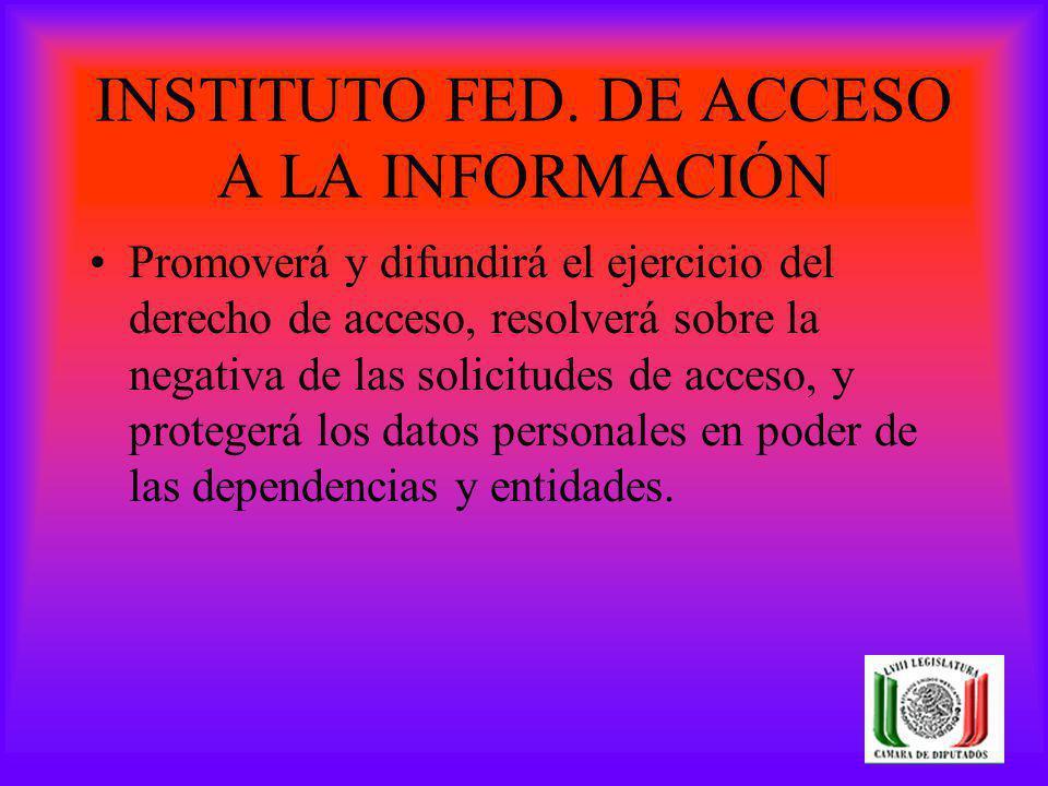 INSTITUTO FED. DE ACCESO A LA INFORMACIÓN Promoverá y difundirá el ejercicio del derecho de acceso, resolverá sobre la negativa de las solicitudes de