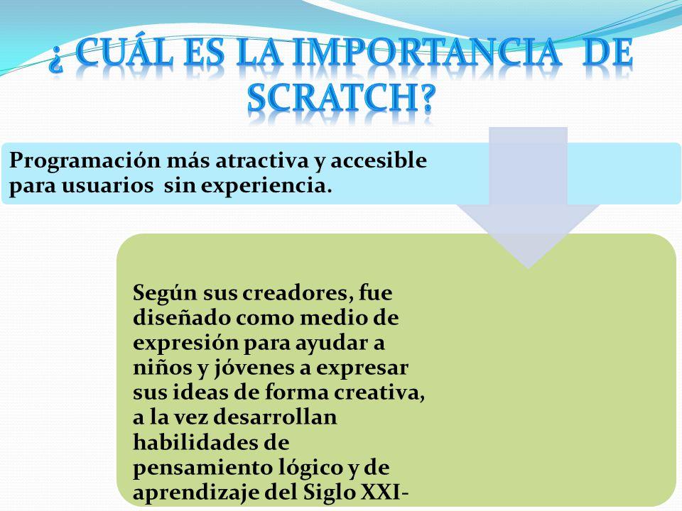 LA HERRAMIENTA Scratch es un entorno de programación recientemente desarrollado por un grupo de investigadores del Lifelong Kindergarten Group del Lab