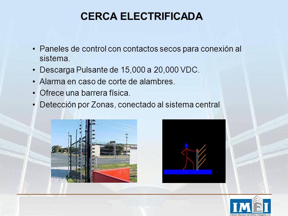 CERCA ELECTRIFICADA Paneles de control con contactos secos para conexión al sistema. Descarga Pulsante de 15,000 a 20,000 VDC. Alarma en caso de corte