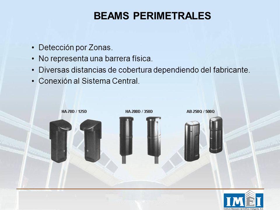 BEAMS PERIMETRALES Detección por Zonas. No representa una barrera física. Diversas distancias de cobertura dependiendo del fabricante. Conexión al Sis