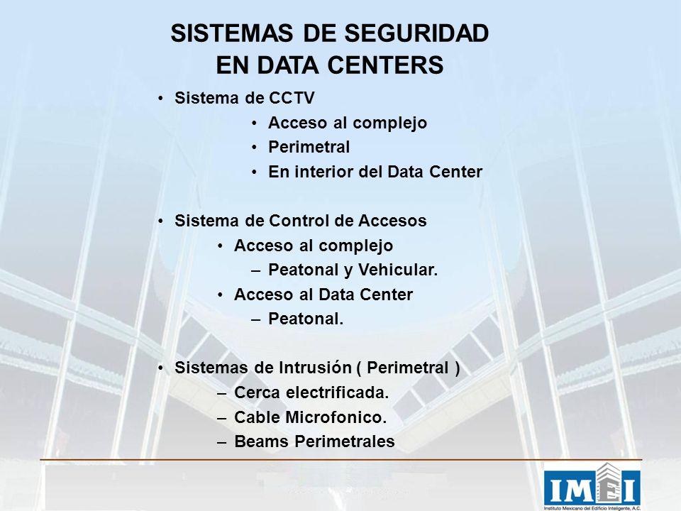 SISTEMAS DE SEGURIDAD EN DATA CENTERS Sistema de CCTV Acceso al complejo Perimetral En interior del Data Center Sistema de Control de Accesos Acceso a