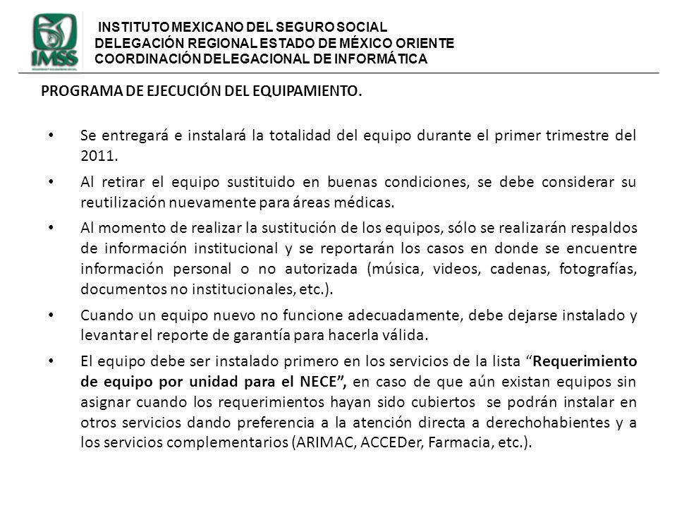 INSTITUTO MEXICANO DEL SEGURO SOCIAL DELEGACIÓN REGIONAL ESTADO DE MÉXICO ORIENTE COORDINACIÓN DELEGACIONAL DE INFORMÁTICA PROGRAMA DE EJECUCIÓN DEL E