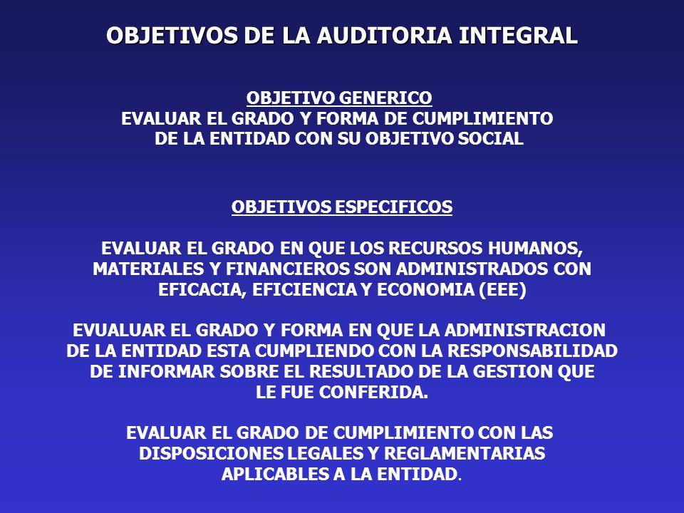 OBJETIVOS DE LA AUDITORIA INTEGRAL OBJETIVO GENERICO EVALUAR EL GRADO Y FORMA DE CUMPLIMIENTO DE LA ENTIDAD CON SU OBJETIVO SOCIAL OBJETIVOS ESPECIFICOS EVALUAR EL GRADO EN QUE LOS RECURSOS HUMANOS, MATERIALES Y FINANCIEROS SON ADMINISTRADOS CON EFICACIA, EFICIENCIA Y ECONOMIA (EEE) EVUALUAR EL GRADO Y FORMA EN QUE LA ADMINISTRACION DE LA ENTIDAD ESTA CUMPLIENDO CON LA RESPONSABILIDAD DE INFORMAR SOBRE EL RESULTADO DE LA GESTION QUE LE FUE CONFERIDA.