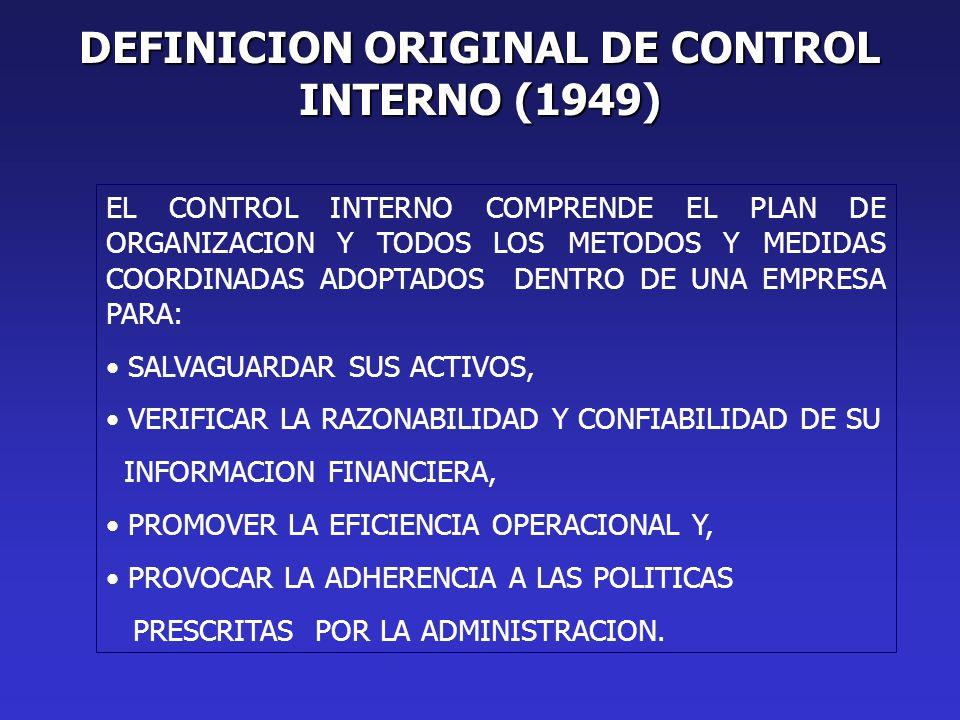 DEFINICION ORIGINAL DE CONTROL INTERNO (1949) EL CONTROL INTERNO COMPRENDE EL PLAN DE ORGANIZACION Y TODOS LOS METODOS Y MEDIDAS COORDINADAS ADOPTADOS DENTRO DE UNA EMPRESA PARA: SALVAGUARDAR SUS ACTIVOS, VERIFICAR LA RAZONABILIDAD Y CONFIABILIDAD DE SU INFORMACION FINANCIERA, PROMOVER LA EFICIENCIA OPERACIONAL Y, PROVOCAR LA ADHERENCIA A LAS POLITICAS PRESCRITAS POR LA ADMINISTRACION.