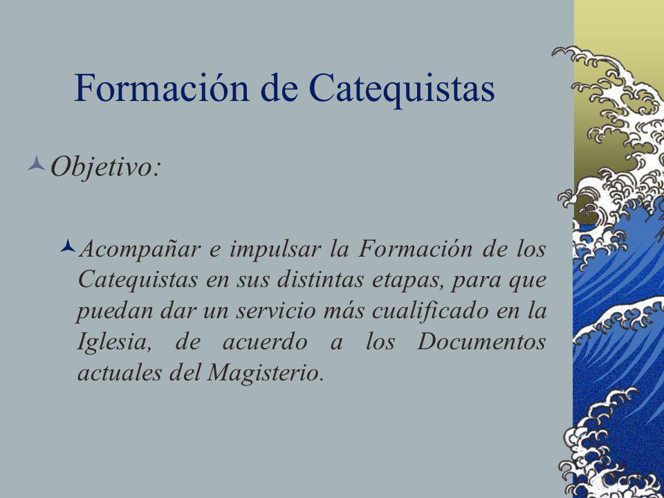 Formación de Catequistas Objetivo: Acompañar e impulsar la Formación de los Catequistas en sus distintas etapas, para que puedan dar un servicio más c