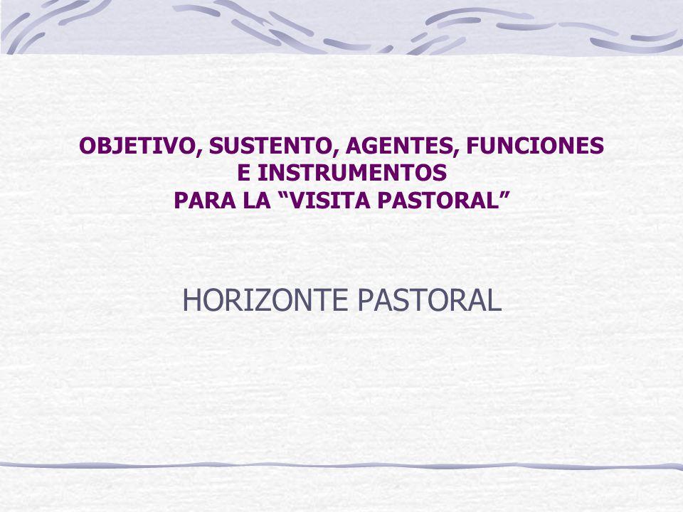OBJETIVO, SUSTENTO, AGENTES, FUNCIONES E INSTRUMENTOS PARA LA VISITA PASTORAL HORIZONTE PASTORAL