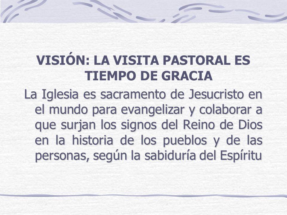 VISIÓN: LA VISITA PASTORAL ES TIEMPO DE GRACIA La Iglesia es sacramento de Jesucristo en el mundo para evangelizar y colaborar a que surjan los signos
