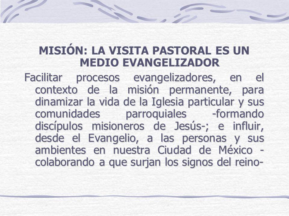 MISIÓN: LA VISITA PASTORAL ES UN MEDIO EVANGELIZADOR Facilitar procesos evangelizadores, en el contexto de la misión permanente, para dinamizar la vid