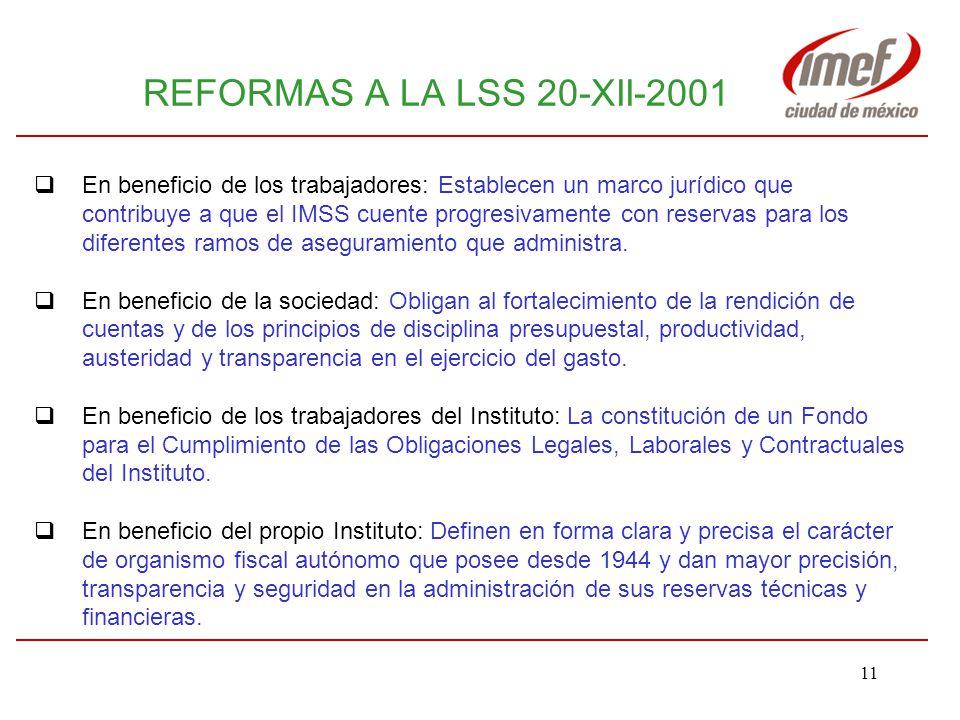 REFORMAS A LA LSS 20-XII-2001 DE LA HEREJIA A LA VIRTUD ACCIONES