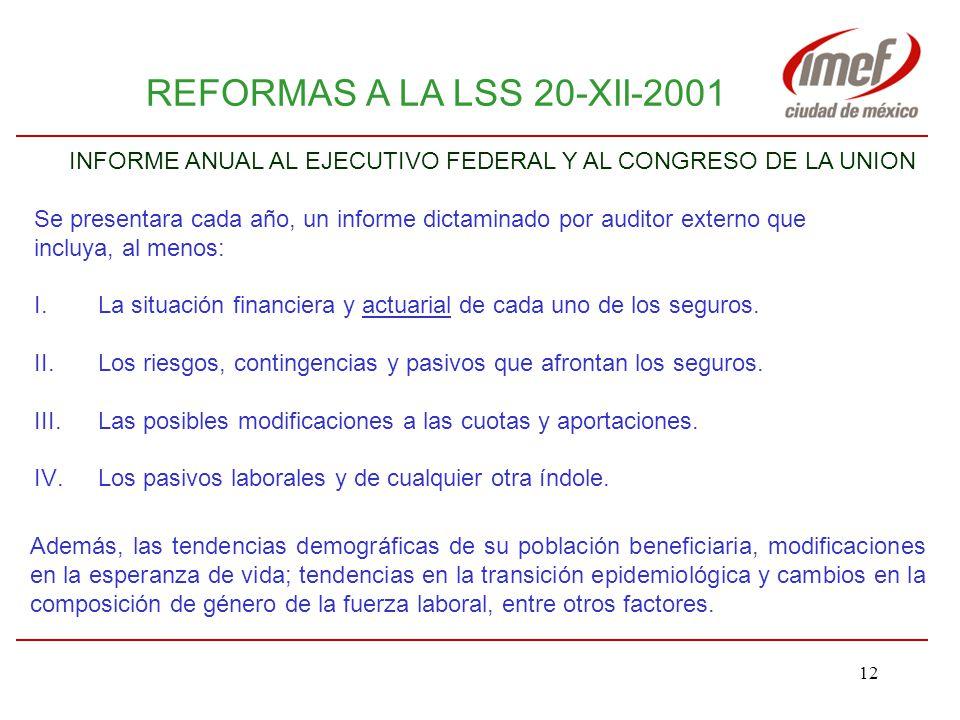 11 REFORMAS A LA LSS 20-XII-2001 En beneficio de los trabajadores: Establecen un marco jurídico que contribuye a que el IMSS cuente progresivamente con reservas para los diferentes ramos de aseguramiento que administra.
