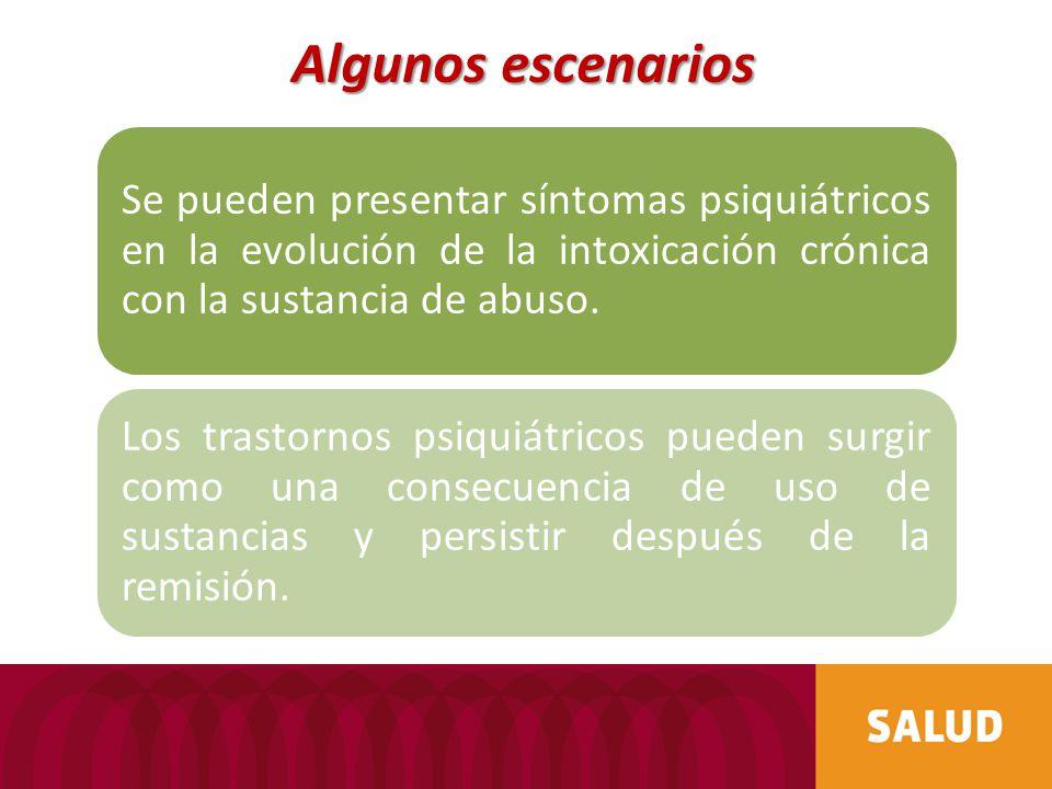 Se pueden presentar síntomas psiquiátricos en la evolución de la intoxicación crónica con la sustancia de abuso. Los trastornos psiquiátricos pueden s