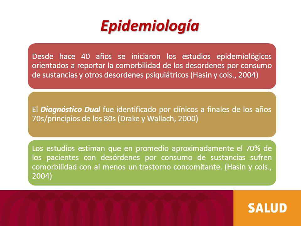 Epidemiología Desde hace 40 años se iniciaron los estudios epidemiológicos orientados a reportar la comorbilidad de los desordenes por consumo de sust