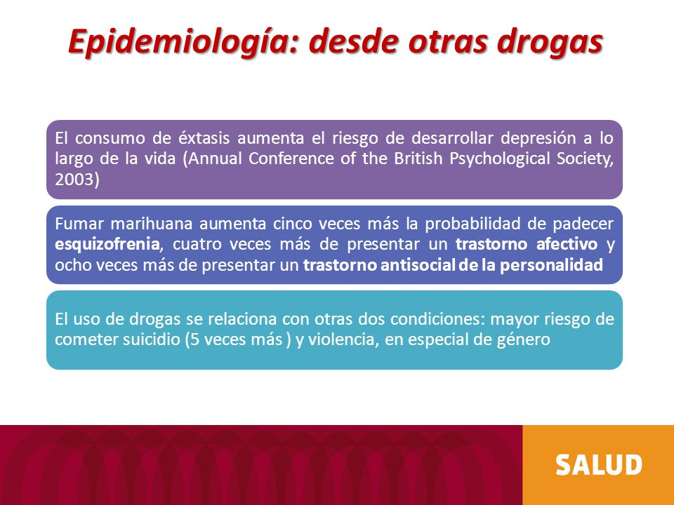El consumo de éxtasis aumenta el riesgo de desarrollar depresión a lo largo de la vida (Annual Conference of the British Psychological Society, 2003)
