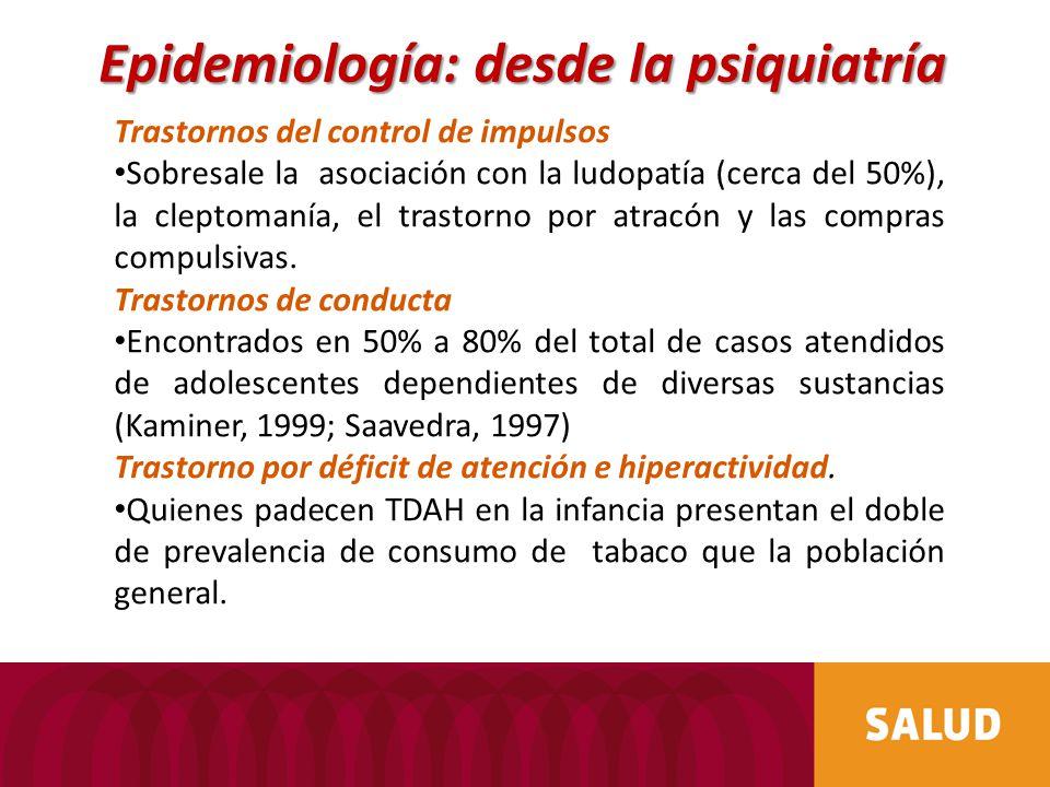 Trastornos del control de impulsos Sobresale la asociación con la ludopatía (cerca del 50%), la cleptomanía, el trastorno por atracón y las compras compulsivas.