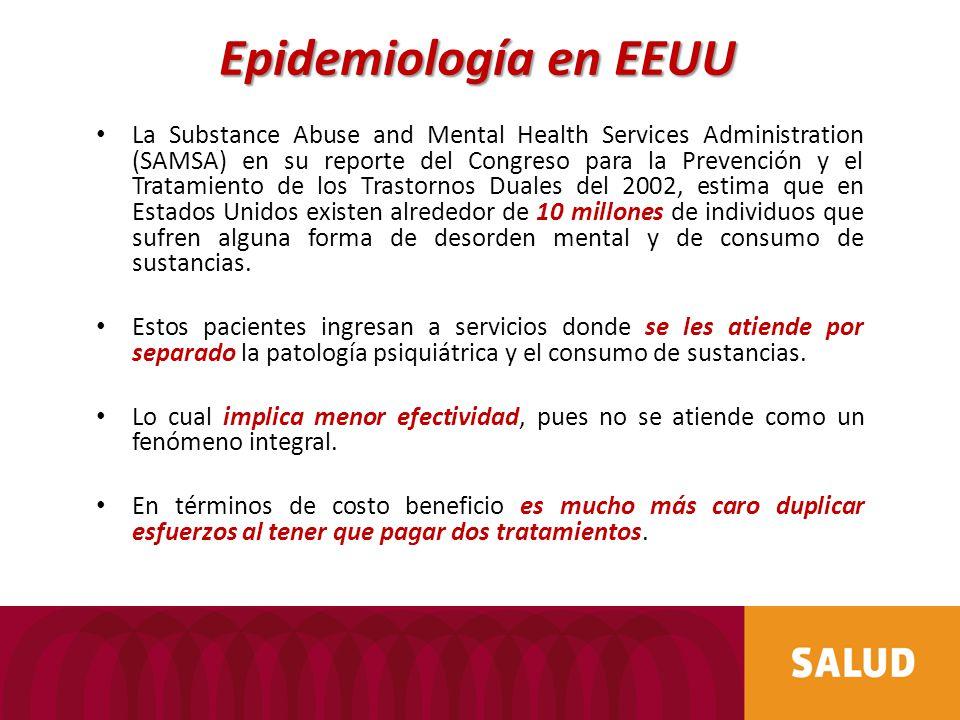 La Substance Abuse and Mental Health Services Administration (SAMSA) en su reporte del Congreso para la Prevención y el Tratamiento de los Trastornos