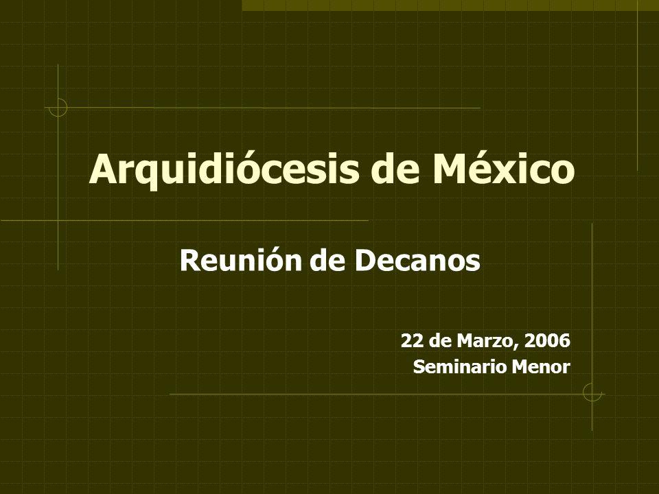 Arquidiócesis de México Reunión de Decanos 22 de Marzo, 2006 Seminario Menor
