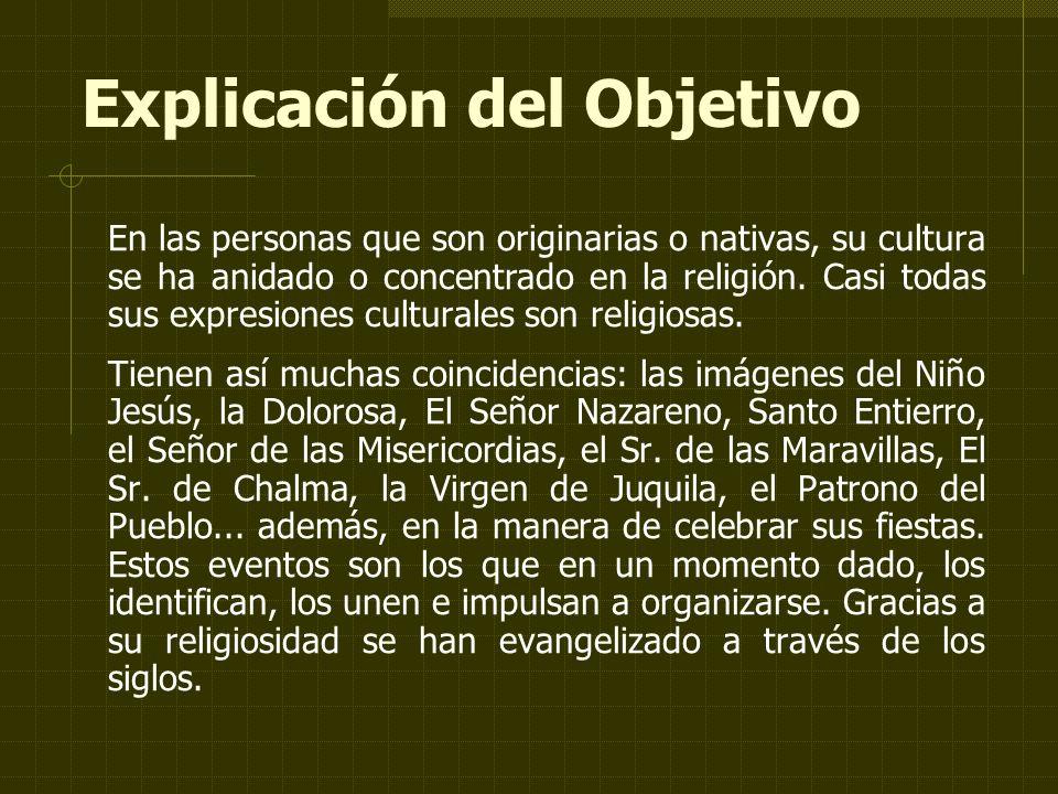 Explicación del Objetivo En las personas que son originarias o nativas, su cultura se ha anidado o concentrado en la religión.