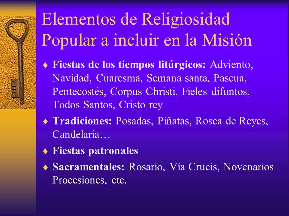 Elementos de Religiosidad Popular a incluir en la Misión Fiestas de los tiempos litúrgicos: Adviento, Navidad, Cuaresma, Semana santa, Pascua, Penteco