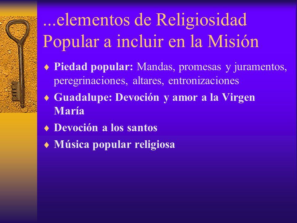 ...elementos de Religiosidad Popular a incluir en la Misión Piedad popular: Mandas, promesas y juramentos, peregrinaciones, altares, entronizaciones G
