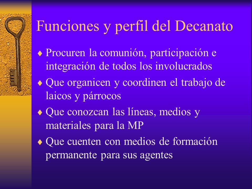Funciones y perfil del Decanato Procuren la comunión, participación e integración de todos los involucrados Que organicen y coordinen el trabajo de la