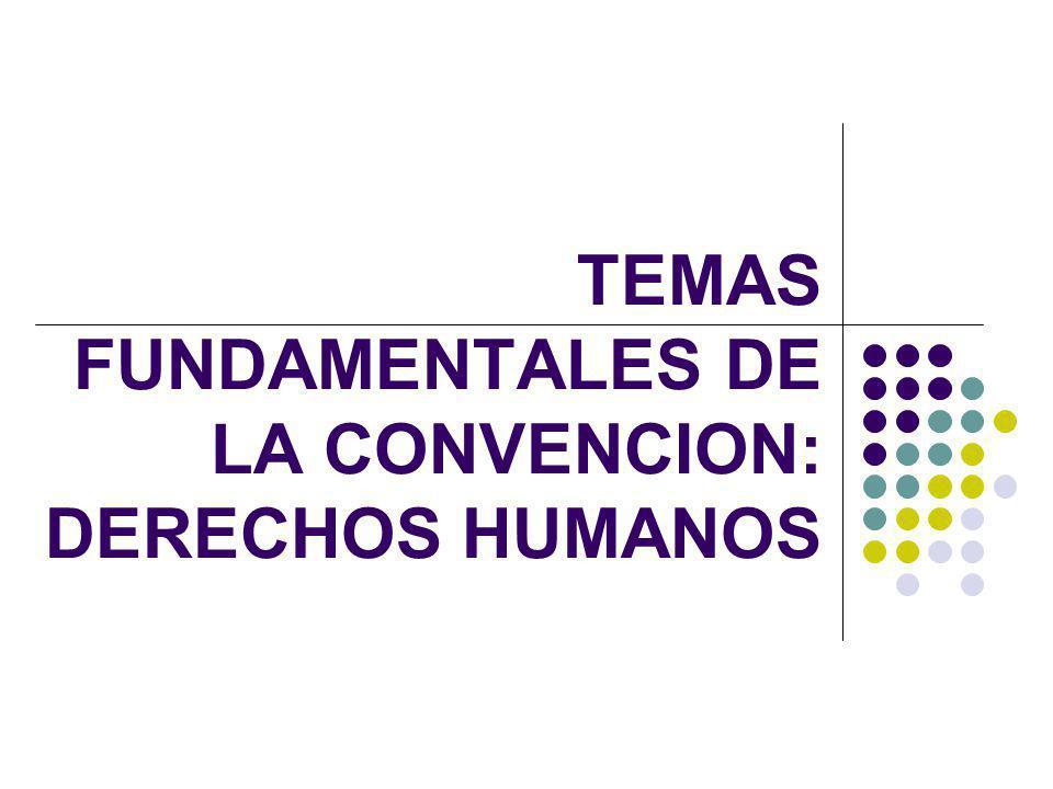 TEMAS FUNDAMENTALES DE LA CONVENCION: DERECHOS HUMANOS