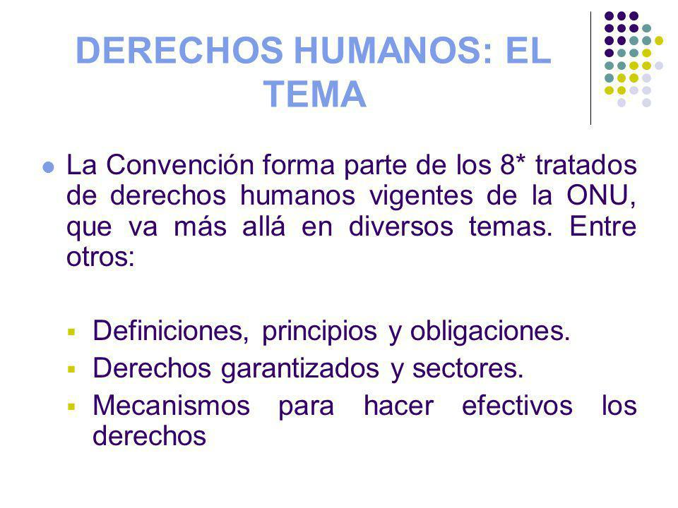 DERECHOS HUMANOS: EL TEMA La Convención forma parte de los 8* tratados de derechos humanos vigentes de la ONU, que va más allá en diversos temas. Entr
