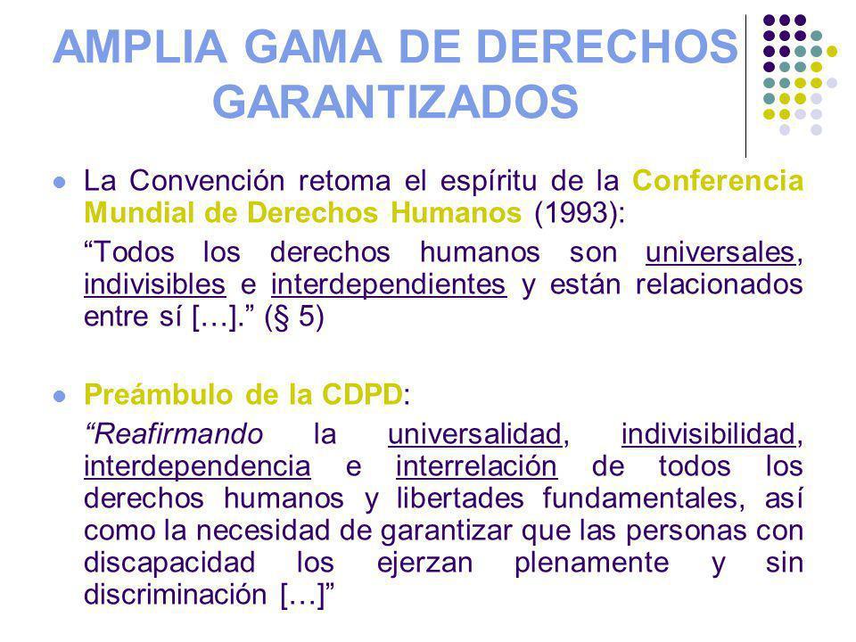 AMPLIA GAMA DE DERECHOS GARANTIZADOS La Convención retoma el espíritu de la Conferencia Mundial de Derechos Humanos (1993): Todos los derechos humanos son universales, indivisibles e interdependientes y están relacionados entre sí […].