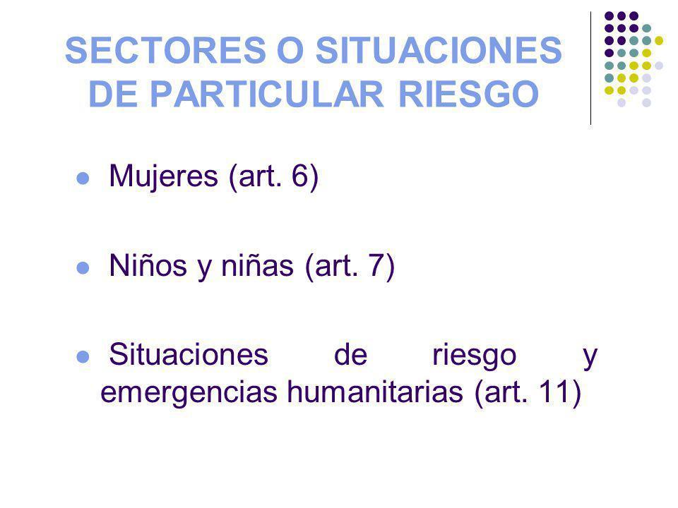 SECTORES O SITUACIONES DE PARTICULAR RIESGO Mujeres (art. 6) Niños y niñas (art. 7) Situaciones de riesgo y emergencias humanitarias (art. 11)