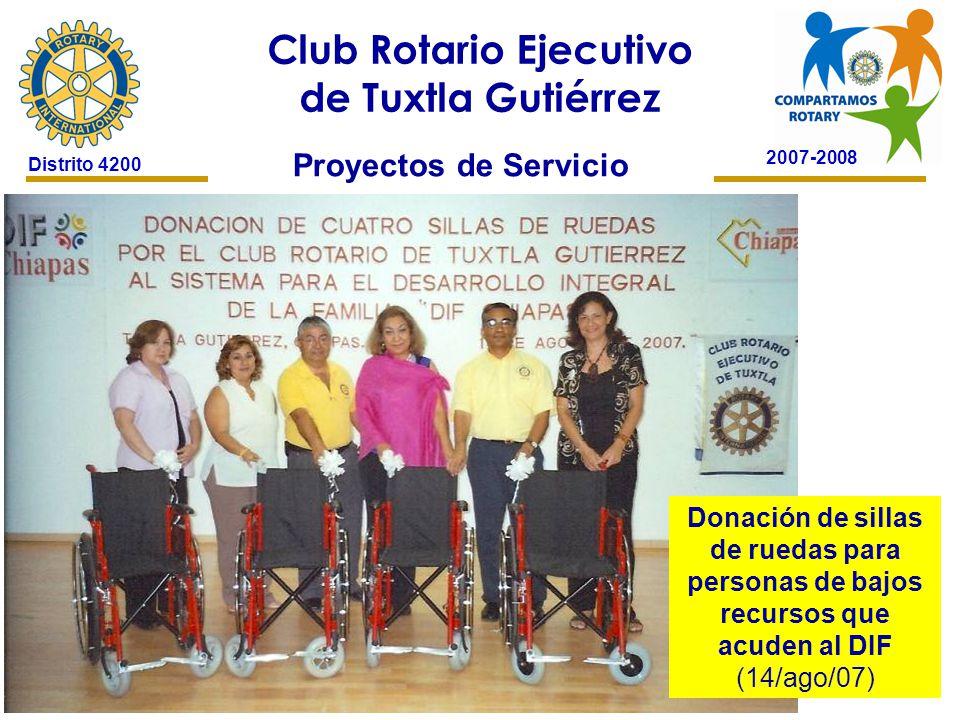 2007-2008 Club Rotario Ejecutivo de Tuxtla Gutiérrez Distrito 4200 Proyectos de Servicio Donación de sillas de ruedas para personas de bajos recursos que acuden al DIF (14/ago/07)