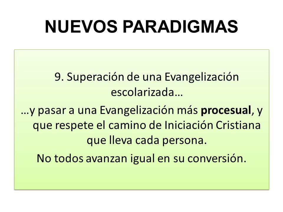NUEVOS PARADIGMAS 9. Superación de una Evangelización escolarizada… …y pasar a una Evangelización más procesual, y que respete el camino de Iniciación
