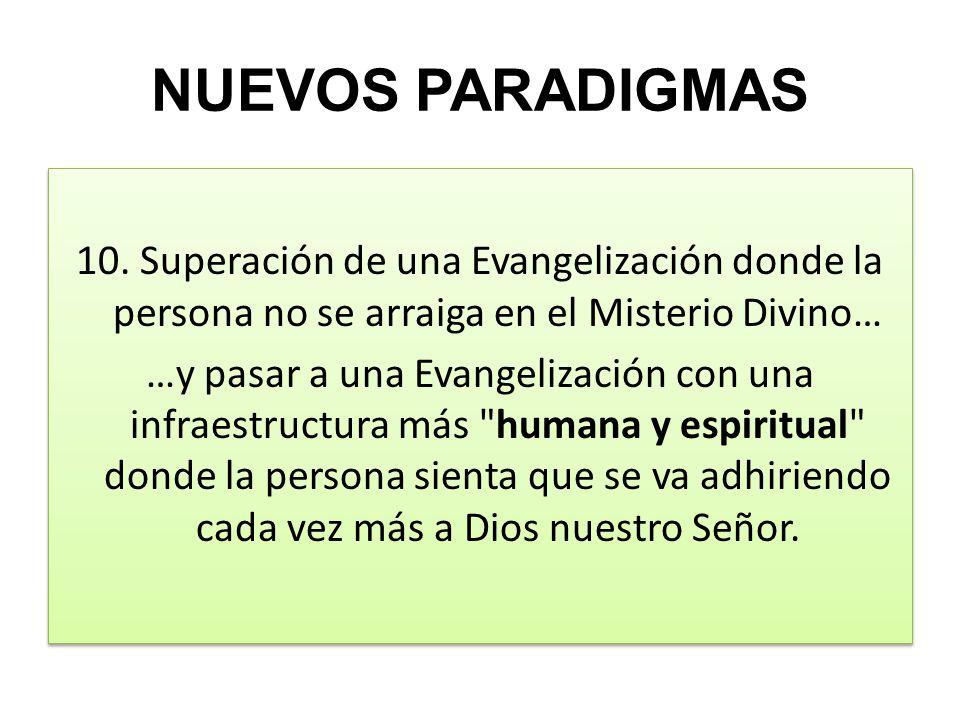 NUEVOS PARADIGMAS 10. Superación de una Evangelización donde la persona no se arraiga en el Misterio Divino… …y pasar a una Evangelización con una inf