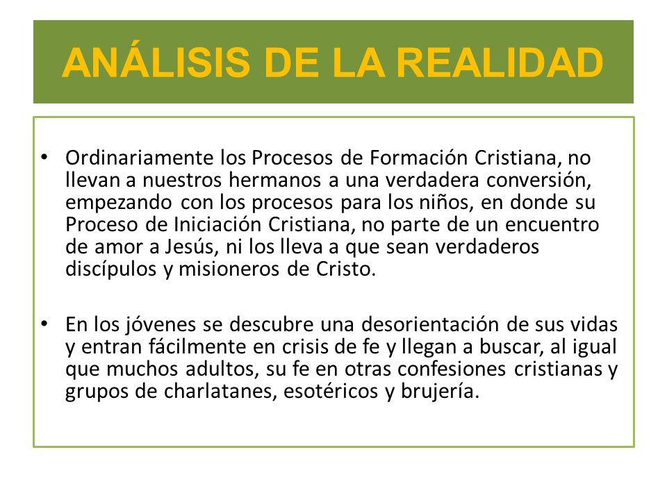 ANÁLISIS DE LA REALIDAD Ordinariamente los Procesos de Formación Cristiana, no llevan a nuestros hermanos a una verdadera conversión, empezando con lo