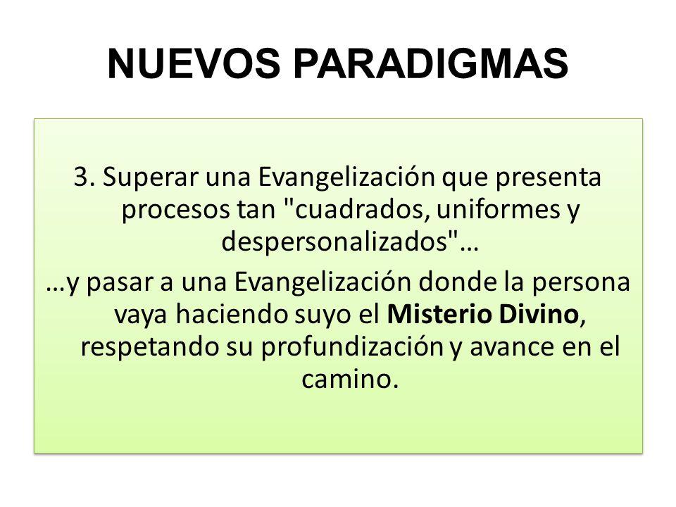 NUEVOS PARADIGMAS 3. Superar una Evangelización que presenta procesos tan