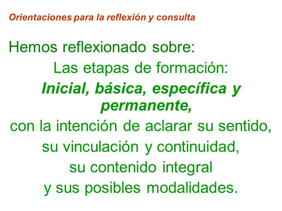 Orientaciones para la reflexión y consulta Hemos reflexionado sobre: Las etapas de formación: Inicial, básica, específica y permanente, con la intención de aclarar su sentido, su vinculación y continuidad, su contenido integral y sus posibles modalidades.