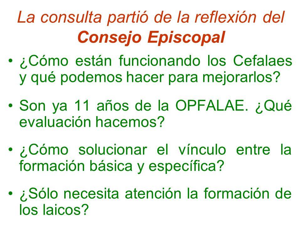 La consulta partió de la reflexión del Consejo Episcopal ¿Cómo están funcionando los Cefalaes y qué podemos hacer para mejorarlos.