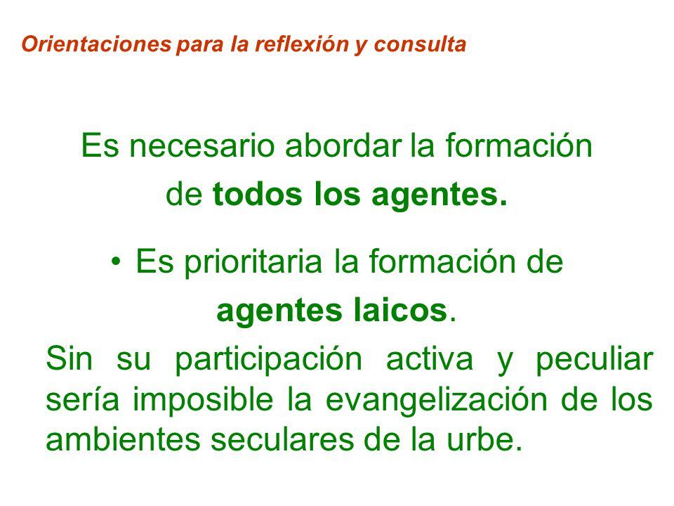 Orientaciones para la reflexión y consulta Es necesario abordar la formación de todos los agentes.