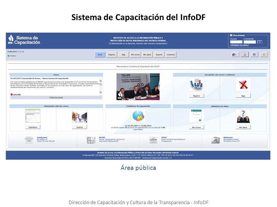 Sistema de Capacitación del InfoDF Dirección de Capacitación y Cultura de la Transparencia - InfoDF Área pública