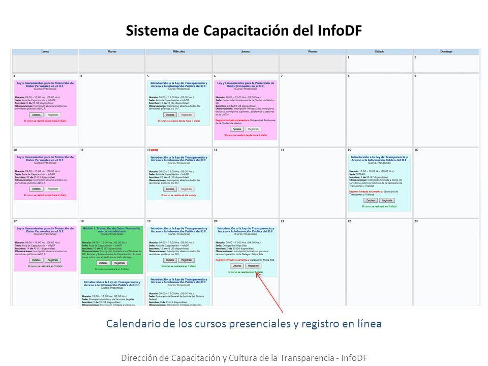 Sistema de Capacitación del InfoDF Dirección de Capacitación y Cultura de la Transparencia - InfoDF Calendario de los cursos presenciales y registro e
