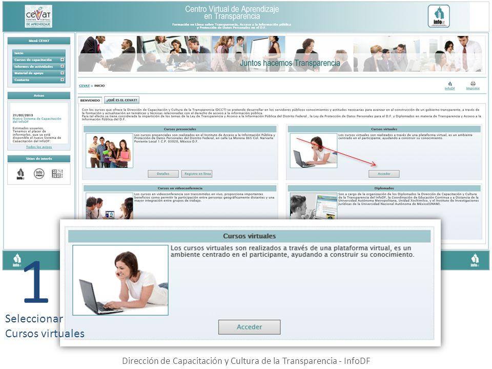 Dirección de Capacitación y Cultura de la Transparencia - InfoDF 1 Seleccionar Cursos virtuales
