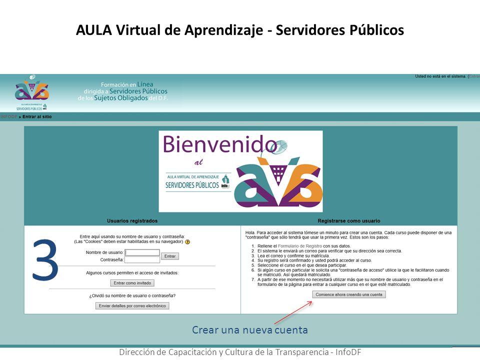 AULA Virtual de Aprendizaje - Servidores Públicos Dirección de Capacitación y Cultura de la Transparencia - InfoDF 3 Crear una nueva cuenta