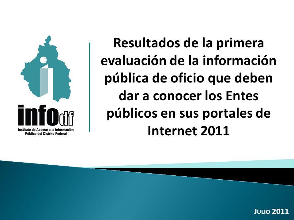 Resultados de la primera evaluación de la información pública de oficio que deben dar a conocer los Entes públicos en sus portales de Internet 2011 J ULIO 2011