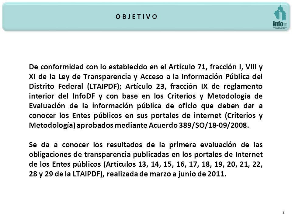 De conformidad con lo establecido en el Artículo 71, fracción I, VIII y XI de la Ley de Transparencia y Acceso a la Información Pública del Distrito Federal (LTAIPDF); Artículo 23, fracción IX de reglamento interior del InfoDF y con base en los Criterios y Metodología de Evaluación de la información pública de oficio que deben dar a conocer los Entes públicos en sus portales de internet (Criterios y Metodología) aprobados mediante Acuerdo 389/SO/18-09/2008.