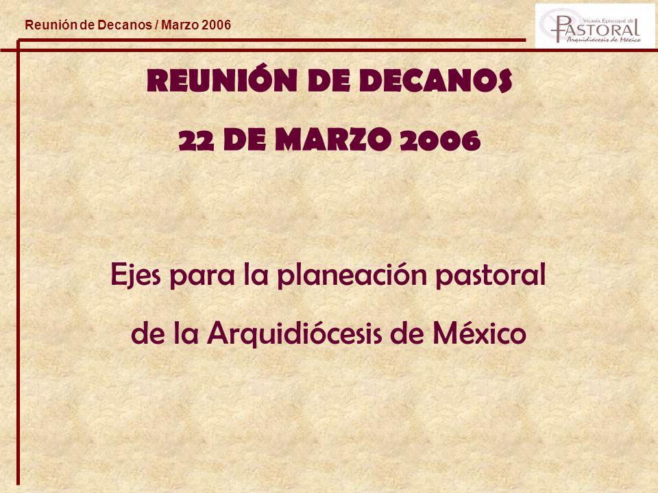 Reunión de Decanos / Marzo 2006 REUNIÓN DE DECANOS 22 DE MARZO 2006 Ejes para la planeación pastoral de la Arquidiócesis de México