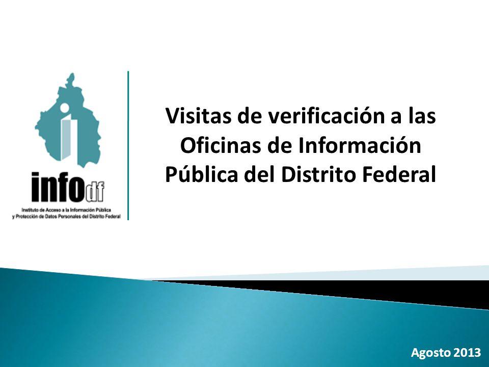 Agosto 2013 Visitas de verificación a las Oficinas de Información Pública del Distrito Federal