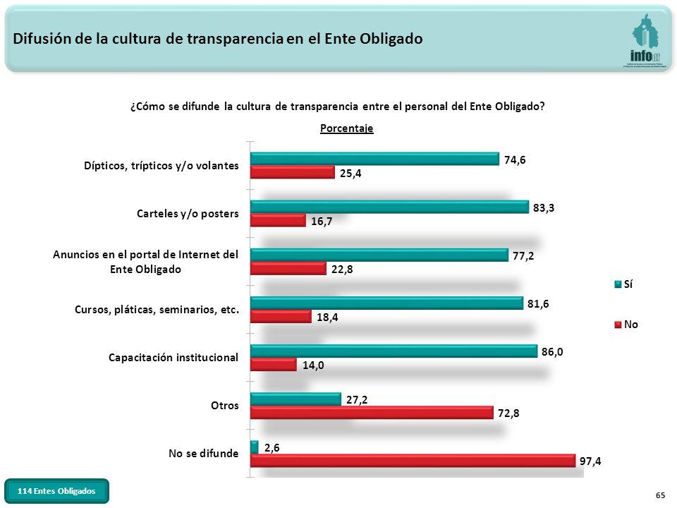 65 ¿Cómo se difunde la cultura de transparencia entre el personal del Ente Obligado? Difusión de la cultura de transparencia en el Ente Obligado 114 E