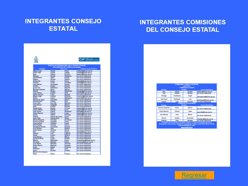 INTEGRANTES CONSEJO ESTATAL INTEGRANTES COMISIONES DEL CONSEJO ESTATAL Regresar