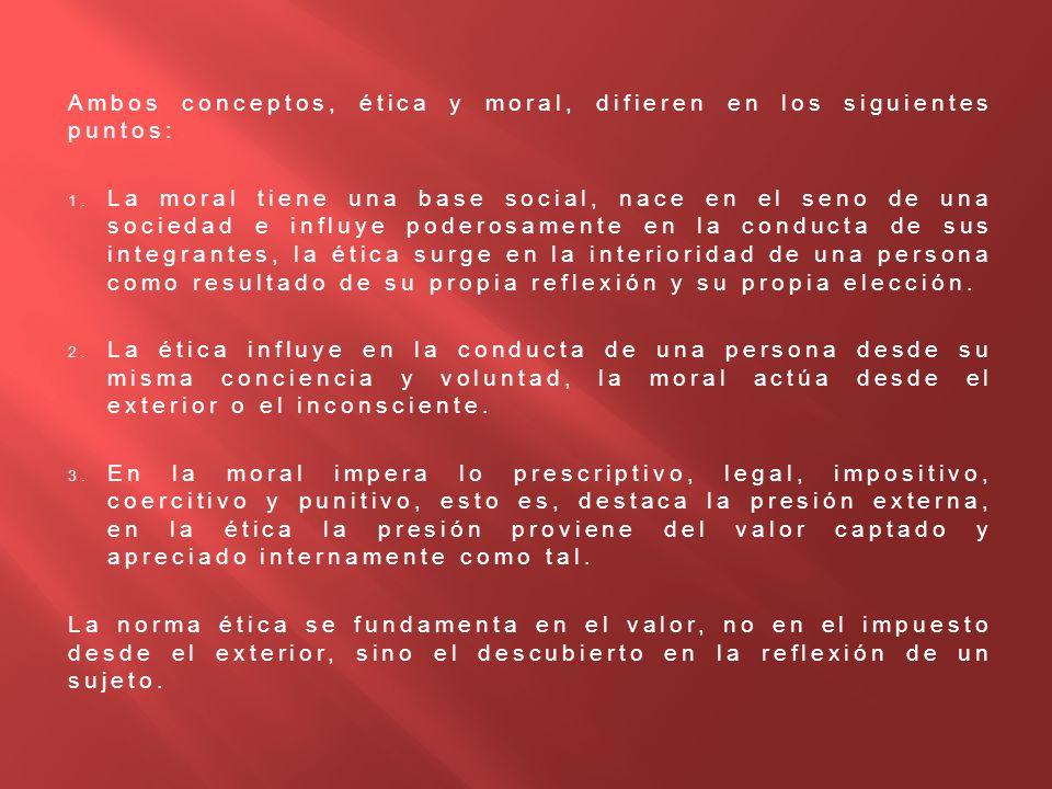 Ambos conceptos, ética y moral, difieren en los siguientes puntos: 1. La moral tiene una base social, nace en el seno de una sociedad e influye podero