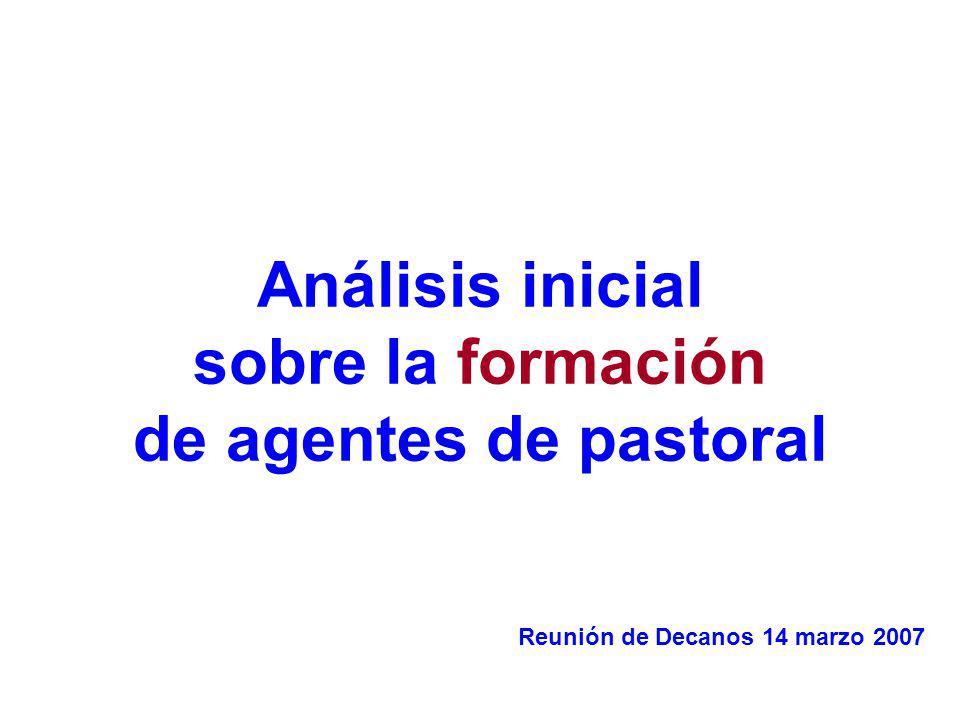 Análisis inicial sobre la formación de agentes de pastoral Reunión de Decanos 14 marzo 2007