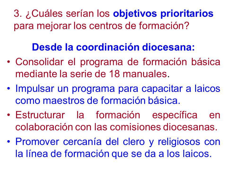 3. ¿Cuáles serían los objetivos prioritarios para mejorar los centros de formación.