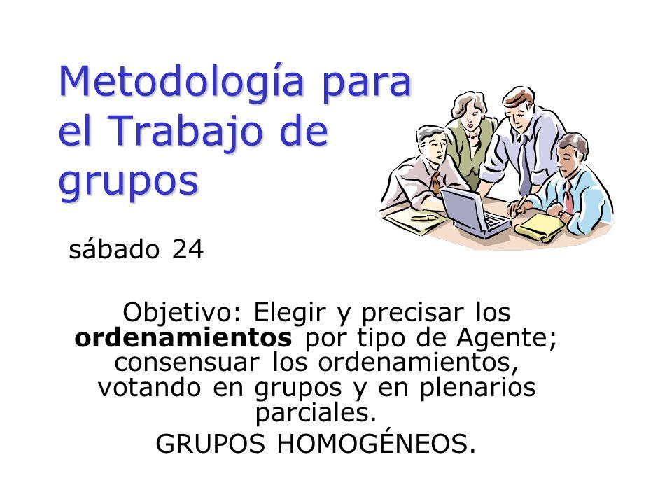 Metodología para el Trabajo de grupos sábado 24 Objetivo: Elegir y precisar los ordenamientos por tipo de Agente; consensuar los ordenamientos, votand